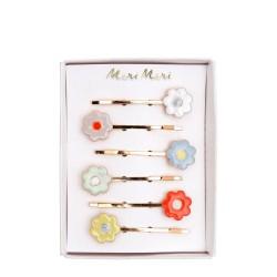 Set 6 Pinces Fleurs En émail